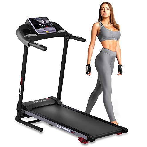 Folding Treadmill Exercise Running Machine - Electric Motorized Running Exercise Equipment w/ 12 Pre-Set Program, Manual Incline, Bluetooth Music/App Support - Home Gym/Office - SereneLife SLFTRD26BT 1