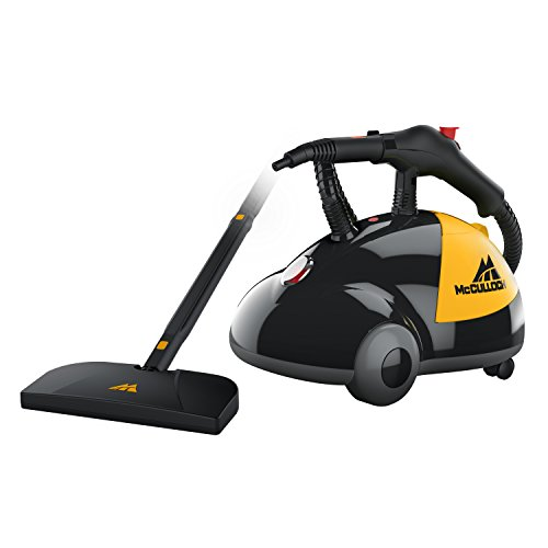 McCulloch MC1275 Heavy-Duty Steam Cleaner with 18 Accessories, Extra-Long Power Cord, Chemical-Free Pressurized Cleaning for Most Floors, Counters, Appliances, Windows, Autos, and More, Yellow/Grey
