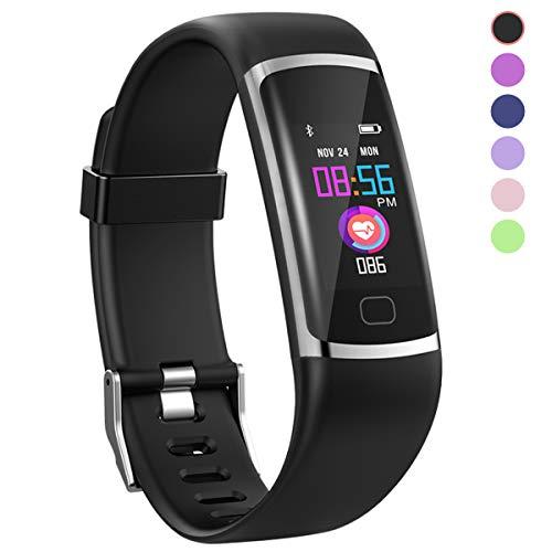 HuaWise Fitness-Tracker, Aktivitätstracker mit Herzfrequenz-Monitor und Schlaf-Monitor, (Bluetooth, wasserdicht, Schrittzähler und Kalorienzähler für Android und iOS