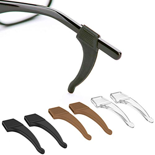 Anti-Slip Glasses Ear Hook Grip - 3 Pack - Stretch Fit for Sunglasses and Glasses (Tricolor)