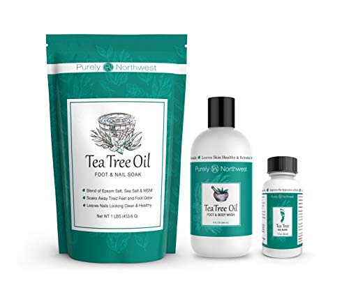 Purely Northwest Tea Tree Oil Extra-Strength Antifungal Foot and Toenail Fungus Treatment Kit with Foot Soak, Foot and Body Wash with Nail Oil