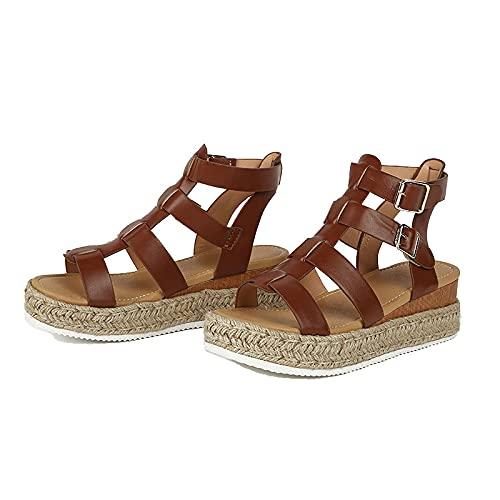 WECDS-E Sandalias de Plataforma con Punta Abierta para Mujer Alpargatas con Tiras en T Elegantes Sandalias de cuña destalonadas de Verano de tacón Medio para Uso Diario