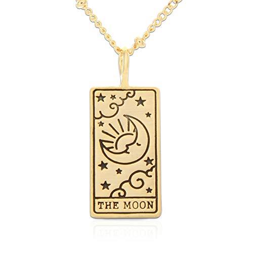 LAONATO Tarot Card Necklace for Women | Moon Star Sun...