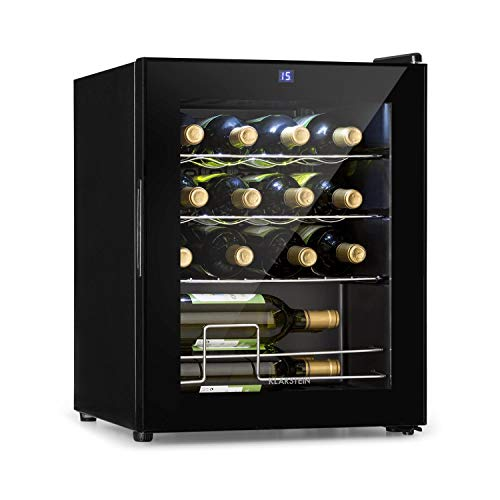 KLARSTEIN Shiraz Slim - Frigorifero per Vini, Cantinetta, Classe Energetica G, 5-18 C, 42 dB, Pannello Soft-Touch, Luce LED, Posizionamento Libero, 3 Ripiani, 42 Litri, per 16 Bottiglie, Nero