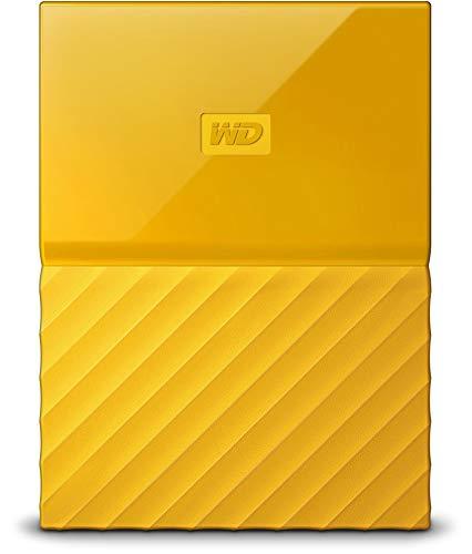 Western Digital My Passport Hard Disk Esterno Portatile, USB 3.0, Software di Backup Automatico, per PC, per Xbox One e PlayStation 4, 2 TB, Giallo