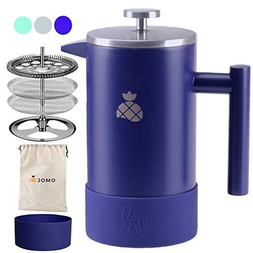 Jomo French Press Kaffeebereiter mit Silikonhülle und Reisetasche aus langlebigem, doppelwandigem Edelstahl für heißeren Kaffee und Tee (1 Liter), entworfen für die Küche und den Außenbereich