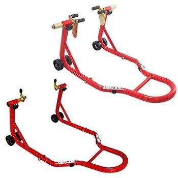 Cruizer - Caballete elevador de moto delantero con enganches de cono y trasero de tenedor, ruedas inferiores y barras de refuerzo laterales.