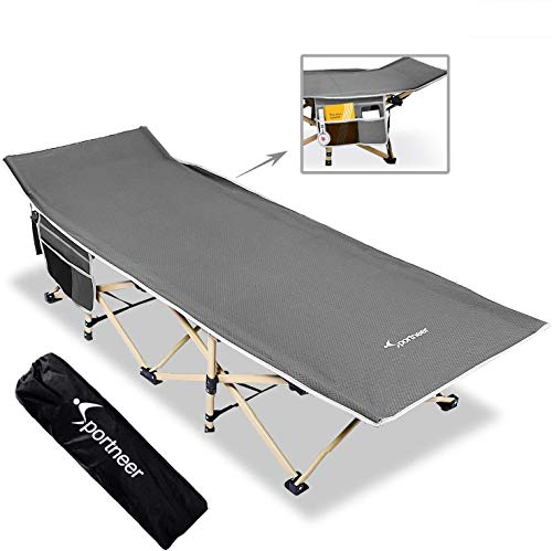 Sportneer Camping Cot, 2 Side Large Pockets Portable Folding Camp Cots Sunbathing Lounger Bed with Carry Bag, for Camping, Beach, BBQ, Hiking, Backpacking, Office