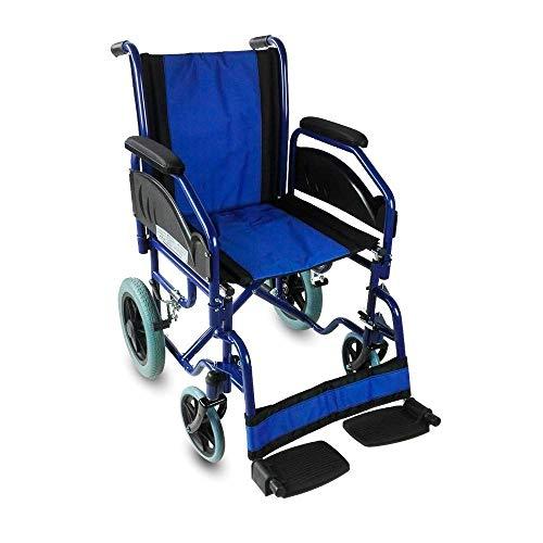 Mobiclinic, Maestranza, Silla de ruedas plegable para ancianos y minusválidos, silla de ruedas manual, freno en manetas, reposapiés y reposabrazos extraíbles, negro