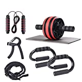 Hollyoo 7-in-1Ab Roller Kit with Knee Pad, Ab Roller Wheel, Jump Rope, Push Up Bars, Hand Gripper and Resistance Bands, Perfect Home Gym Core Strength & Abdominal Trainers Fitness Workout Equipment