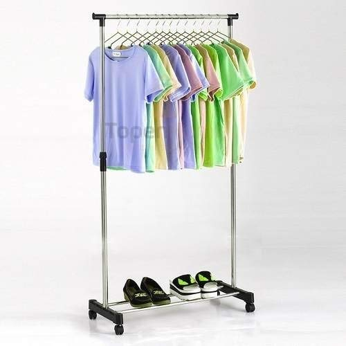 Adjustable Stainless Clothes Rack With Shoe Rack And Wheels 01-4
