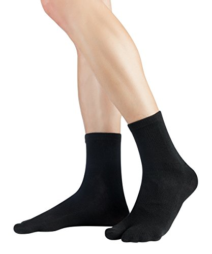 Knitido Traditionals Tabi Ankle | Calzini giapponesi corti e colorati con alluce separato, Misura:39-42, Colori:nero (001)