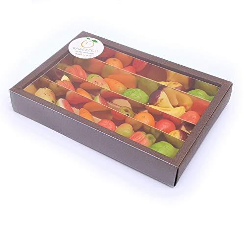 Frutti di pasta di mandorle, martorana o marzapane siciliano in splendida confezione regalo (gr.380). RAREZZE: prodotti tipici siciliani, cannoli, cassate, da antica pasticceria artigianale siciliana.