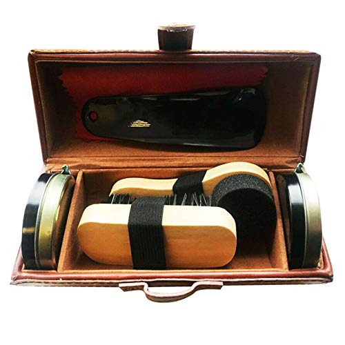 YUET Kit d'entretien de cirage pour cuir marron et noir avec brosse de polissage, étui de voyage de luxe de qualité supérieure en crin de cheval, applicateur en bois, chausse-pied, chiffon 7 pièces