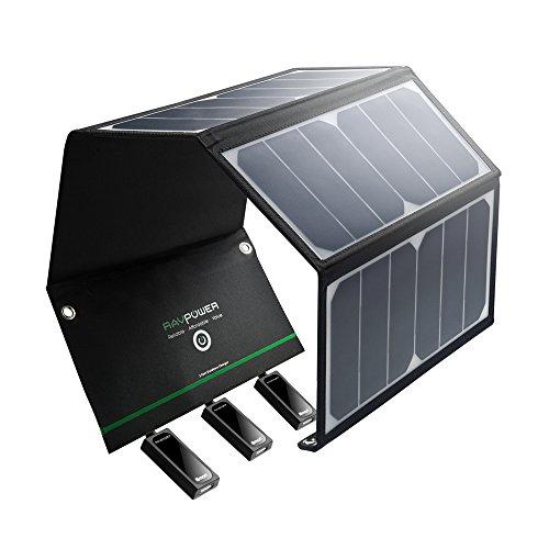 RAVPower 24W Chargeur Panneau Solaire 3 Ports USB + 4 Œillets et Crochets...
