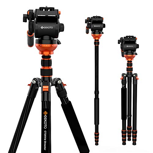 Video Tripod, Geekoto Camera Tripod with Fluid Head, Lightweight Carbon Fiber Tripod 79 inches for Nikon Canon Sony DSLR Camera Camcorder, Max Loading 25 LB