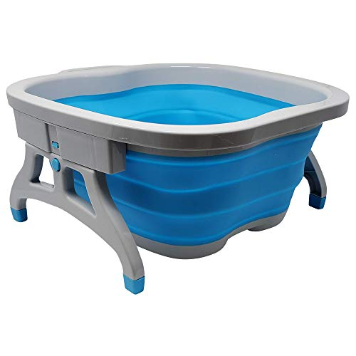 Large Foot Soaking Tub, bucket for feet, foot bath, foot tub, for at Home Spa Pedicures. Plastic/Rubber Foldable Bucket For Soaking Feet to Apply Callus Remover, or Use Pumice Stone (Blue)