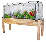 """CedarCraft Elevated Cedar Planter (23"""" x 72"""" x 30'H) + Greenhouse Cover - Complete Raised Garden kit to Grow Tomatoes, Veggies & Herbs. Greenhouse extends Growing Season, Protects Plants"""