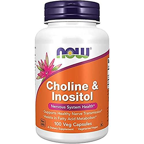 Now Foods   Cholin und Inositol   500 mg   100 Kapseln   hochdosiert   ohne Gentechnik   Glutenfrei   Sojafrei   Choline Bitartrat + Inosit