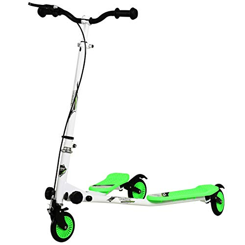 Uenjoy Ride On Car,Kids Swing Scooter 3 Wheels Foldable Swing Car Y Wiggle Scooter 3-Level Adjustable Height Swing Wiggle Scooter for Age 5+ Boys Girls and Adult,White-Green.