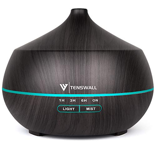 Essential Oil Diffuser, 400ml Diffusers for Essential oils, Ultrasonic Aromatherapy Diffuser Humidifier with Adjustable Mist Mode, 7 Color Changing LED Lights & Waterless Auto-Off for for Office Home