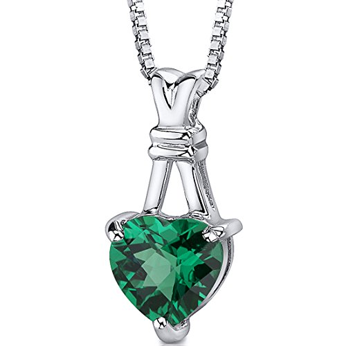 Peora Simulated Emerald Heart Pendant Necklace in Sterling...