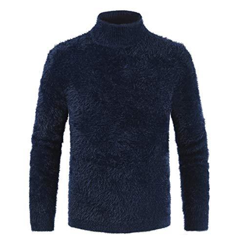 Maglione Uomo Top Uomo Collo Alto Moda Confortevole Maglieria all-Match Uomo Peluche Top Autunno E Inverno Classico Semplice Business Casual Uomo Maglioni D-Blue 3XL