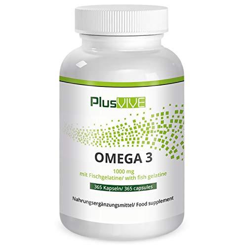 Plusvive - 365 cápsulas de omega 3 con recubrimiento de gel