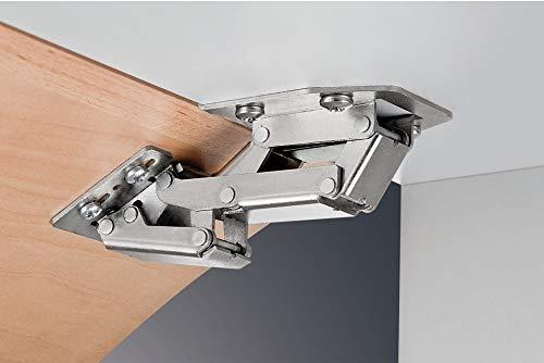 Gedotec Aufschraubscharnier CH 300 Caravan-Scharnier für aufliegenden Anschlag | Stahl vernickelt | Aufschraubband Tür & Klappen-Gewicht 2,1 kg | 10 Stück - Möbelscharnier Möbeltüren & Schranktüren
