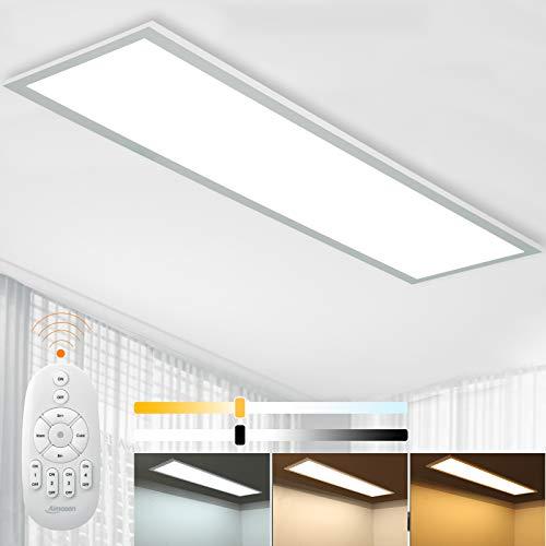Dimmbar LED Deckenleuchte Panel 100x25 cm mit Fernbedienung, 28W Flache Deckenpanel Lampe mit Starker Leuchtkraft Licht, 2700K - 6500K Warmweiß Kaltweiß Tageslicht Lampe für Büro Werkstatt Wohnzimmer