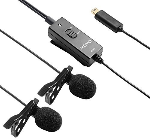 Microfono lavalier a condensatore a doppia testa Movo GM2, alimentato a batteria, omnidirezionale, con fermaglio per risvolto per GoPro HERO3, HERO3+ e HERO4 in nero, bianco e argento