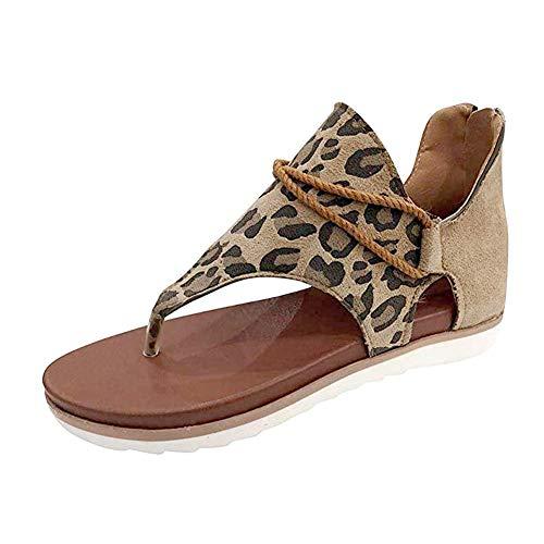 Yesgirl Mujer Sandalias Planas Casual Leopardo Zapatos De Verano Sandalias Mujeres Peep Toe Encaje Up Impresión Clip Toe con Cremallera Planas Playa Sandalias Y Leopardo 40 EU