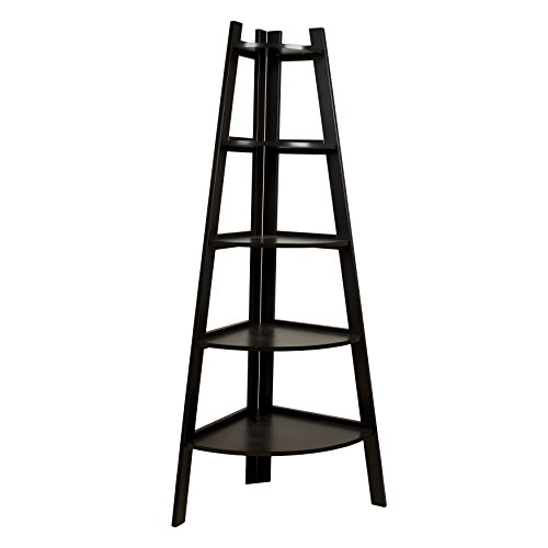 7. Danya B Five Tier Corner Ladder White Display Bookshelf