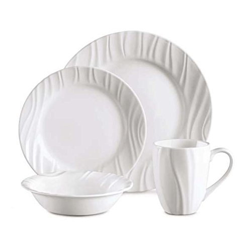 Corelle 16-Piece Vitrelle Glass Swept Chip and Break Resistant Embossed Dinner Set, Service for 4, White