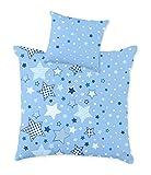 STERNE Baby Bettwäsche Set für Wiege/Kinderwagen/Stubenwagen  STARS · 2 teilig · Kissenbezug 35x40 + Bettbezug 80x80 cm