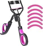 Eyelash Curler, Lash Curler Handle with 6 Silicone Refill Pads Eyelashes Tweezer Cosmetic Makeup Curling Tools Violet Black