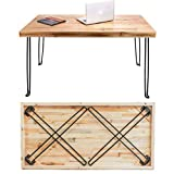 Sleekform Folding Desk Lightweight Portable Wood Table 47'x 24' | Small Wooden Foldable Workstation for Writing Computer Laptop | Industrial Rustic Style with Metal Hairpin Legs | No Assembly Required