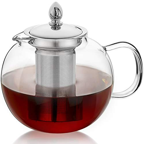 Hiware 45oz Large Glass Teapot Kettle with Infuser,...