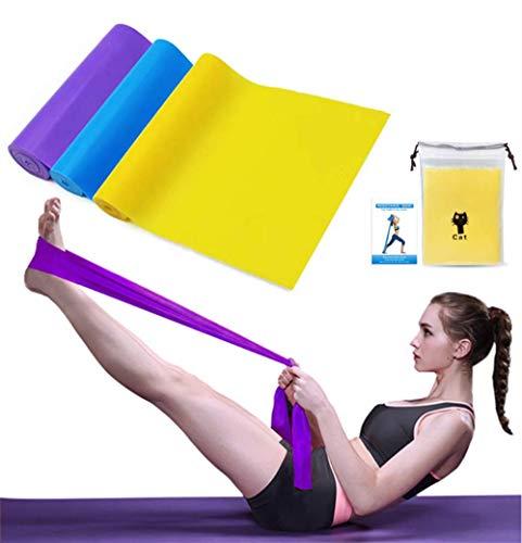 Bipily Bande Elastiche Fitness 3 Pezzi, Fasce Elastiche Resistenza Lattice con 3 Livelli, 1.5m Fascia Elastica Esercizi per Yoga, Pilates, Allenamento, Fisioterapia, Riabilitazione
