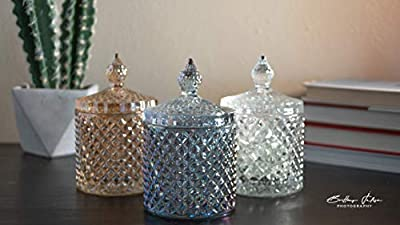 💎 Crafted of quality lead-free brilliant transparent glass with a faceted diamond pattern sculpted into its exterior, this gorgeous lidded jar catches and reflects light for stunning effect, perfect to entertain friends and family. 💎 [Perfect Size] T...