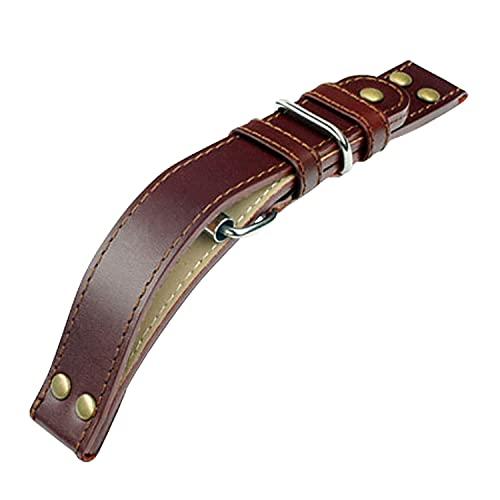 Laco Fliegeruhren Lederband – Beobachtungsuhren – XL 20 mm – geschlossen – Braun – Nieten – Ersatzband – Einzigartige Qualität – Herausragende Verarbeitung