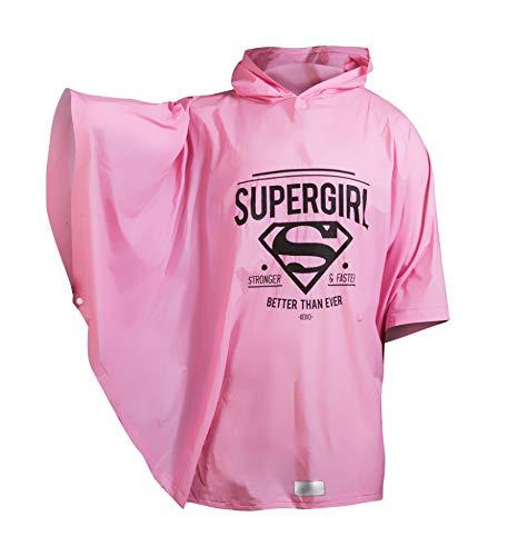 Baagl Kinder Regenponcho - Supergirl Regencape mit Kapuze und reflektiven Elementen - Regenmantel für Mädchen ab 130cm