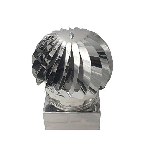 Comignoli girevoli, cappello eolico per camini in acciaio inox, base quadrata 42x42 cm