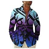 Briskorry Chemise en lin ample à manches longues pour homme - Chemise hawaïenne - T-shirt fin et respirant - Coupe droite - Manches longues - Décontractée - Pour le fitness et le sport, lilas, XL