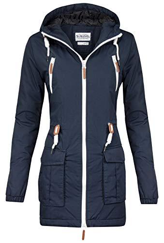 Sublevel Damen Matilda Winter Jacke Parka Mantel Winterjacke gefüttert mit Kapuze 6 Farben XS-XL Midnight Blue S