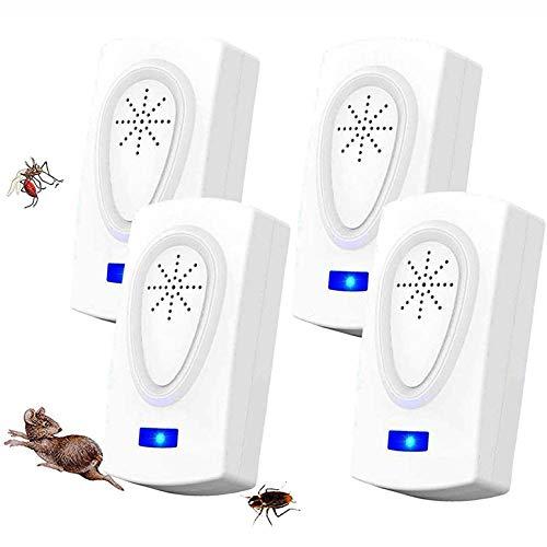 WARDBES Repellente ad Ultrasuoni,Antizanzare Repellente Insetti Ultrasuoni,Repellente Elettronico Contro Parassiti Tiene lontani Topi,Ratti,Mosche, Scarafaggi,Ragni,Zanzare(Pacchetto di 4)