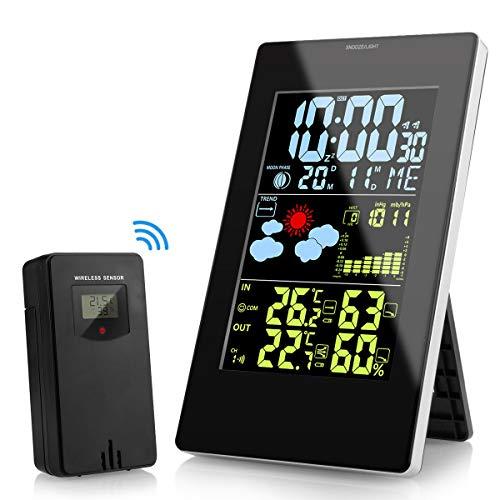 KKTICK Stazioni Meteorologica, Digitale Stazione Meteo Wireless LCD Display con Sensore Esterno per Previsione Monitor Temperatura umidità, Sveglia, Snooze, Tempo, Data