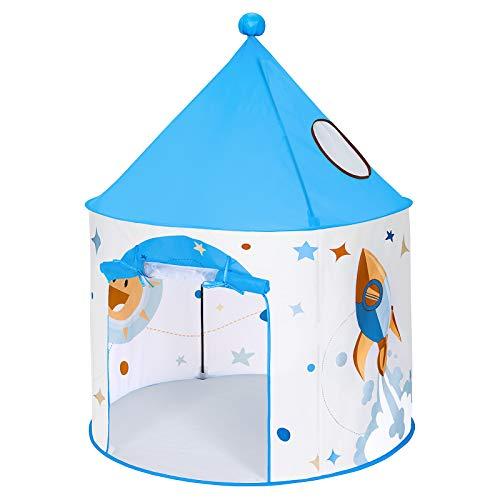 SONGMICS Spielzelt für Kleinkinder, Pop-up Indianerzelt, Tipi, tragbar, mit Tragetasche, für innen und außen, Geschenk für Kinder, Sternen-Motiv, weiß-blau LPT03WB