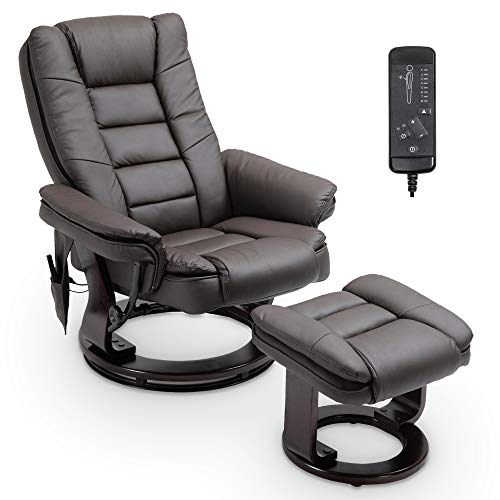Recliner with Ottoman,Recliner Chair and Ottoman Set,PU Leather Recliner with Footstool,360 Degree Swivel Living Room Chairs,Overstuffed Lounge Chair with Ottoman,2 Points Massage,Bentwood Base