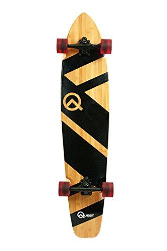 Quest QT-NSC44C The Super Cruiser The Original Artisan Bamboo and Maple 44' Longboard Skateboard,Black